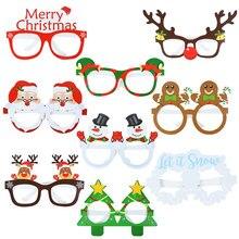 9Pcs Kerst Glazen Kerstman Sneeuwpop Sneeuwvlok Boom Elanden Papier Bril Party Photo Props 2020 Kerst Decoratie Voor Thuis