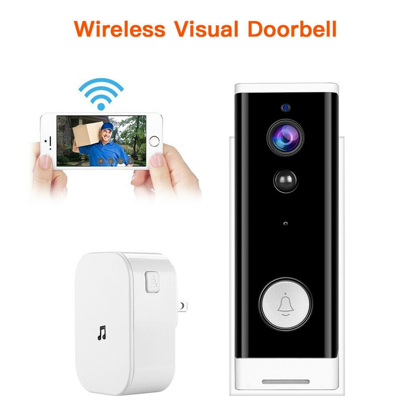 New WiFi Video Doorbell 1080P Wireless Smart Security Camera Door Bell 2-Way Talk PIR Motion Detection Night Vision Door Bell+Di