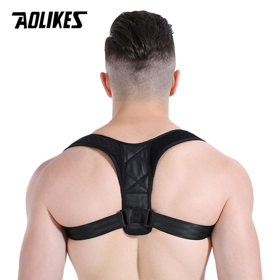 AOLIKES Back Shoulder Posture Correction Adjustable Adult Sports Safety Back Support Corset Spine Support Belt Posture Corrector
