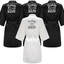 Birthday Party Queen&Squad Robes Satin Pajamas Dressing Gown For Women Black White Writing Kimono Gift