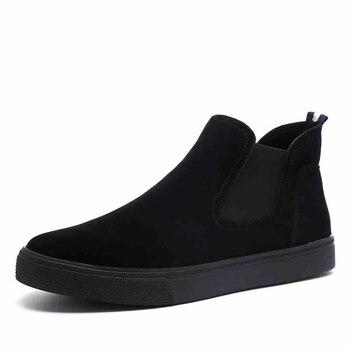 British style men casual cow leather boots slip-on flats shoes mans chelsea boot platform ankle botas zapatos de hombre botines