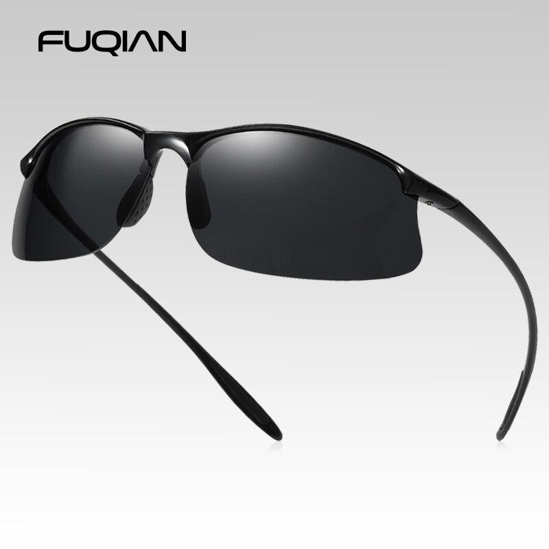 FUQIAN Brand New Sports Polarized Sunglasses Men Women Vintage Reimless Glasses TR90 Light Weight Driving Eyewear UV400