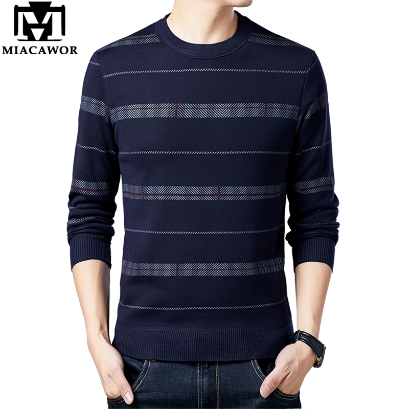 MIACAWOR Brand Sweater Men Fleece Warm Pullover Men O-neck Jersey Hombre Fashion Striped Jumpers Men Knitted Man Clothing Y242