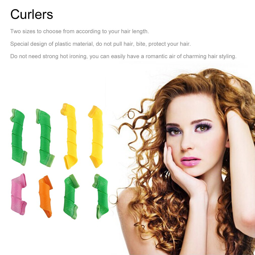 18Pcs Plastic Magic Hair Curler Rollers + 2pcs Pear Head Hooks Kit For Wet Or Dry Hair DIY Wave Curler Hair Styling Tools