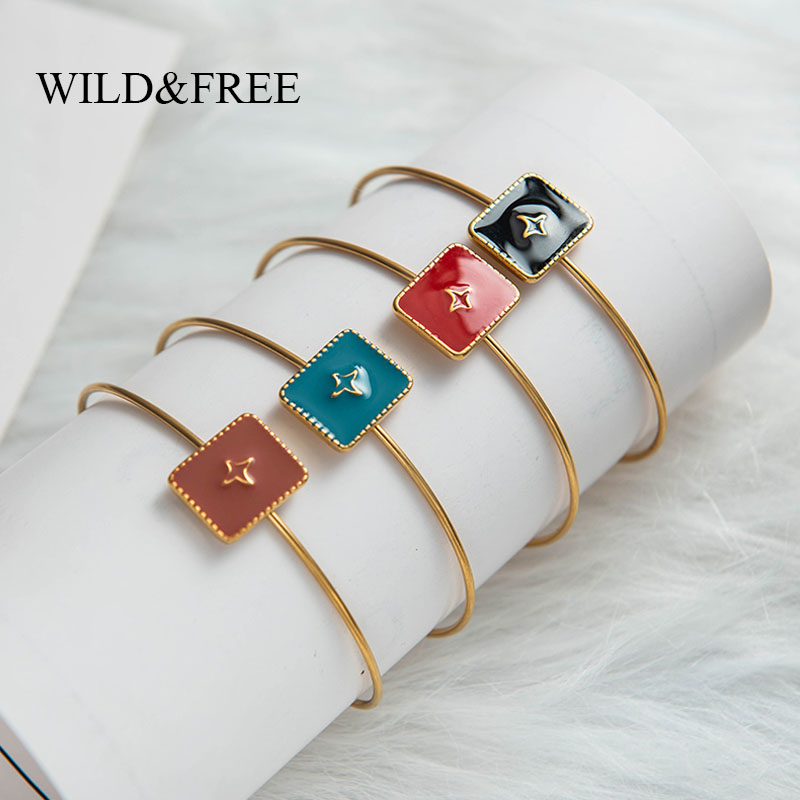Wild & Free New Vintage Square Open Bangles Jewelry For Women Colorful Enamel Gold Geometric Bangles Stainless Steel Jewelry(China)