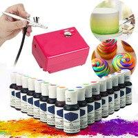 Airbrush Air Compressor Art Air Brush Set DIY Cake Tool +5 Colors Edible Pigment Food Coloring Pastry Tool Temporary Tattoo Inks