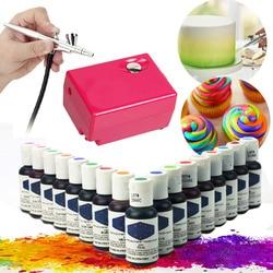 Airbrush Compressor Art Air Brush Set Diy Cake Tool + 5 Kleuren Eetbare Pigment Kleurstof Pastry Tool Tijdelijke tattoo Inkt