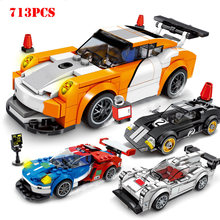 Technic City Super Racers Speed Champions Racing Sports Car Building Blocks Compatible Legoed Bricks Toys For Children Boy Gifts(China)