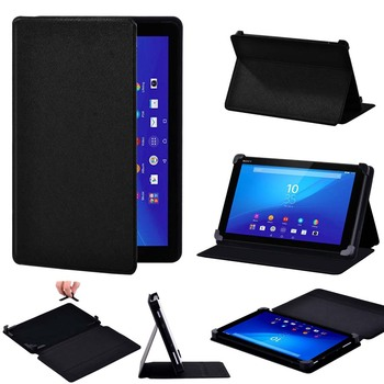 Tablet Case for Sony Xperia Z3 8 Inch/Z4 10.1 Inch Leather Smart Stand Pure Black Cover Case + Free Stylus image