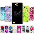 Чехол для телефона huawei honor 3c, Мягкая силиконовая задняя крышка из ТПУ, 360 полная защита, прозрачный чехол с принтом, кошка, цветок