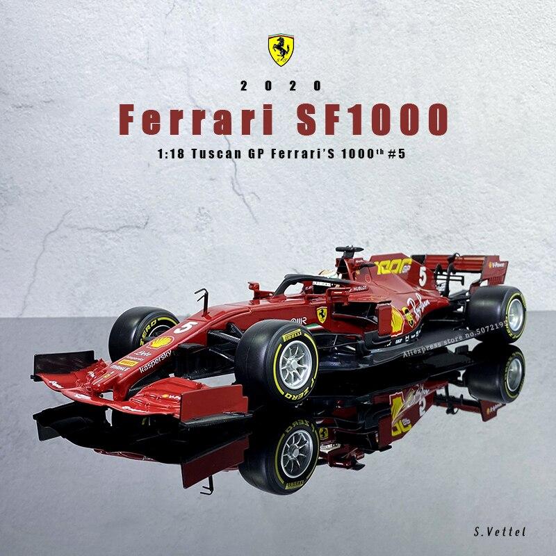 Bburago 1:18 FERRARI SF1000 2020 season F1 #5 Sebastian Vettel racing model alloy car model Collect gifts toy