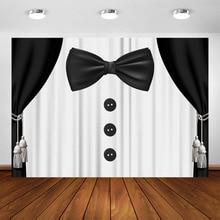 Gentleman 007 James Bond Theme Backdrop Black White Suit Tie Background Little Man Party Supplies Shower Birthday Baptism Banner