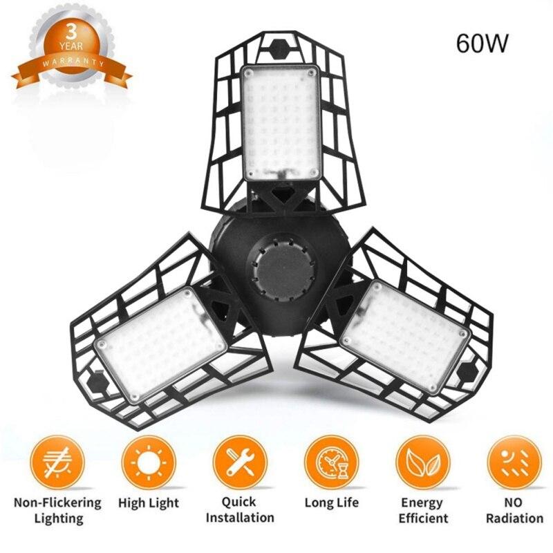 LED Light High Bay Light Garage Light Deformed Folding Chandelier LED Workshop Light With PIR Motion Sensor Miner's Lamp
