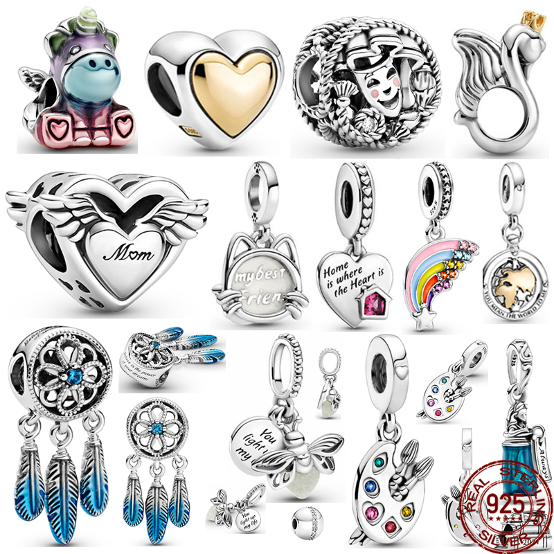 BOFUER New Silver Color Bruno Charms Earth Mon Fit Original Pandora 925 Bracelet Silver Pendant Charm Necklace Jewelry For Women