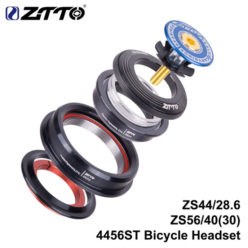 ZTTO Mountain Bike Steering Column Internal Headset 44mm 56mm Tapered Tube Fork Straight ZS44ZS56 Bike Threadless Headset 4456ST