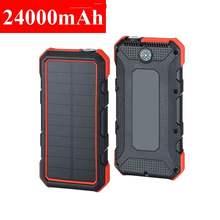 Chargeur solaire 18W 24000mAh QC3.0, batterie externe étanche à double port USB, charge rapide