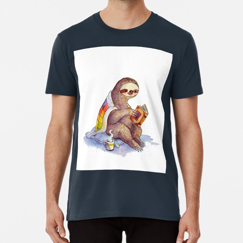 Cozy Sloth T shirt sloth animals cute animals winter reading books watercolor cute tea coffee