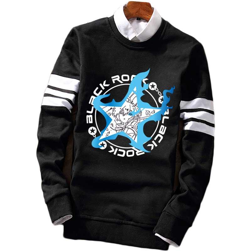 Black Rock Shooter Pullover Hooded Long Sleeve Sweatshirt Mens Leisure Popular Printed Pullover Autumn Winter Tops