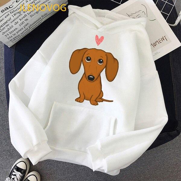 Cute Dachshund Dog Love Cartoon Print Hoodies Women Clothes 2021 Funny Vogue Sweatshirt Femme Harajuku Kawaii Winter Tracksuit 7