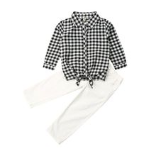 1-6Years Toddler Baby Kids Girl Clothes Set Long Sleeve Plaid Bow Tops + Denim Pants Outfits Autumn Spring Children Costumes