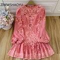 Ziwwshaoyu feminino moda verão rosa algodão curto vestido feminino lanterna manga oco para fora boêmio férias mini vestidos