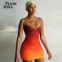 PixieKiki – robe Mini moulante en dentelle pour femme, tenue Sexy, dégradé Orange, tenue de club, bretelles Spaghetti, été, 2021