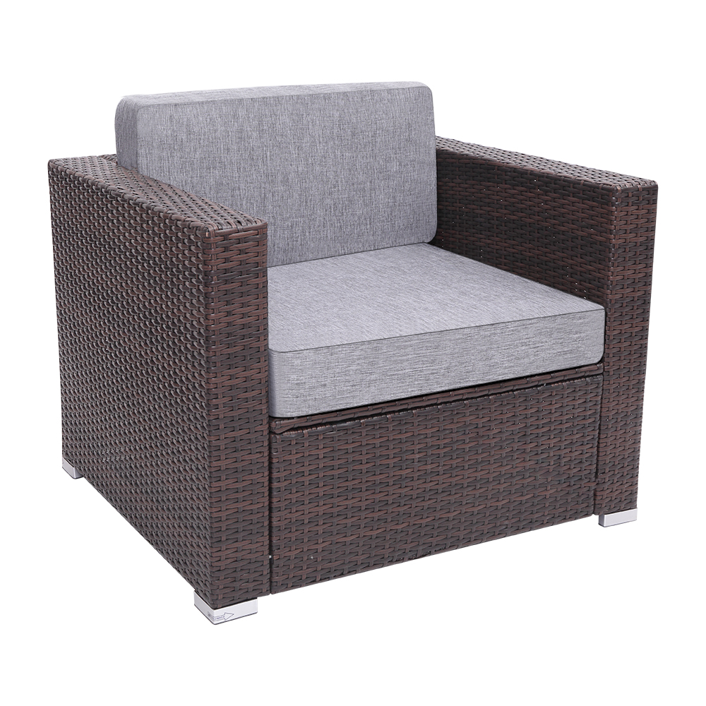 【US Warehouse】Patio PE Wicker Rattan Single Sofa(Outdoor Rattan Sofa)