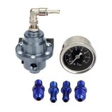 Regulador de pressão de combustível de alumínio ajustável universal com kit calibre 7 cores 1xcf