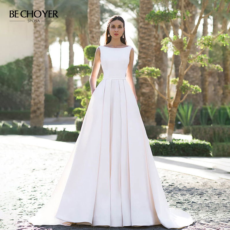 Elegant Sleeveless Satin Wedding Dress BE CHOYER OZ11 Backless A-Line Sposa Princess Bride Gown Customized Size Vestido De Noiva