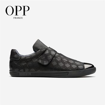 OPP Hook&Loop Flats Casual Shoes Men Shoes Punk Hip Hop Loafers For Men Metal Rivet Shoes Cow Leather Loafers Footwear For Men