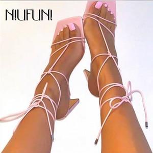 De talla grande 35-41 cuadrado del dedo del pie correa en el tobillo, sandalias de las mujeres Clip dedos Sandalias de tacón alto de verano Casual calzado romanos zapatos para mujeres