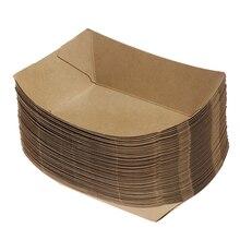 50 шт. в форме корабля, ресторанный ящик для вывоза, контейнеры, легкая складная коробка, коробка из крафт-бумаги, ланч-салат, картонные вечерние принадлежности, сумка для контецнера еды