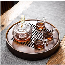 Peônia flor redonda chá bandeja-madeira de bambu natural chá tabl bandeja chá conjunto placa de bambu plutônio er bandeja de chá acessórios de cozinha