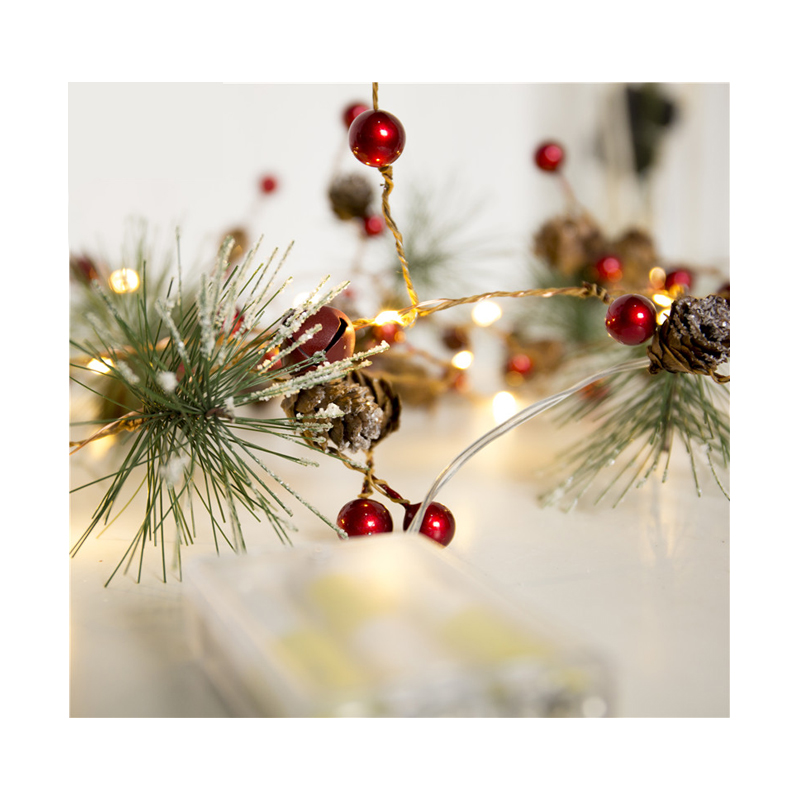 Red Berry Christmas Garland Lights LED Copper Fairy Lights Pinecone String Lights For Xmas Holiday Tree And Home Decoration