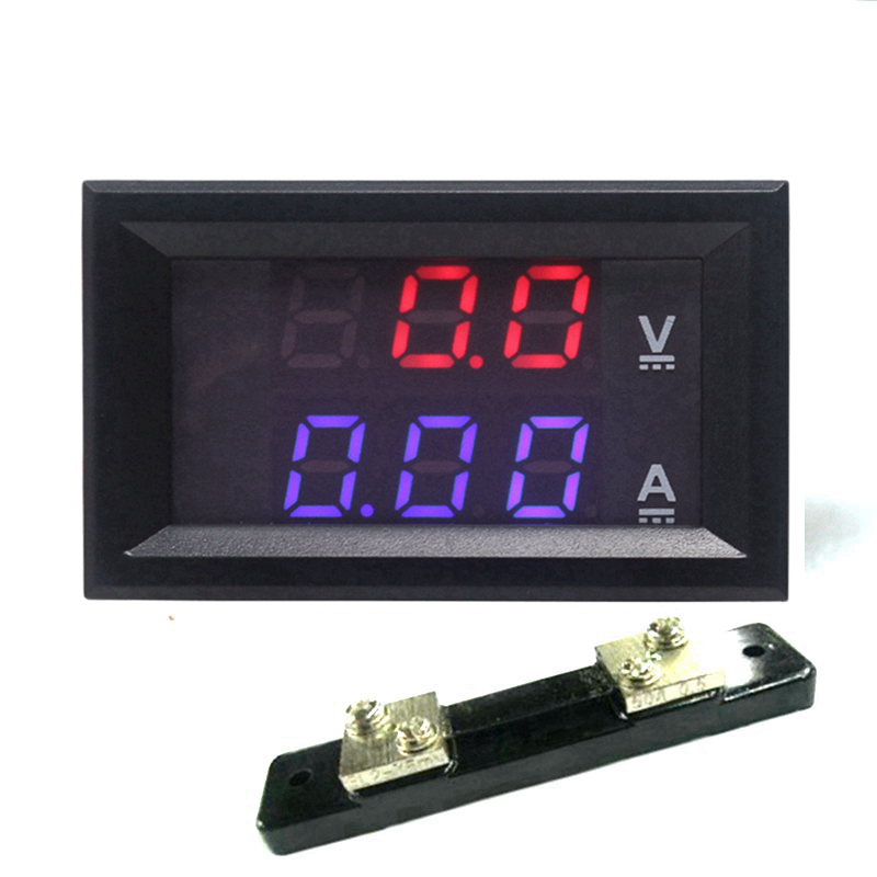Digital <font><b>Voltmeter</b></font> <font><b>Ammeter</b></font> <font><b>DC</b></font> 0-<font><b>100V</b></font> 10A <font><b>50A</b></font> 100A Dual Display Voltage Detector Current Meter Panel Amp Volt Gauge image