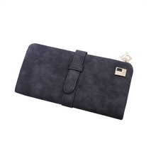 LISM Long Purse Two Fold Women Wallets Drawstring Nubuck Leather Zipper Suede Wallet Ladies Carteira Feminina Clutch Bag