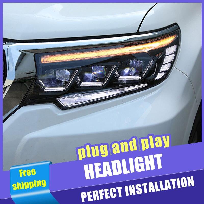 2 pièces voiture Style tout LED phares pour Toyota prado18-19 pour prado lampe frontale LED DRL lentille Double faisceau H7 caché xénon bi xénon lentille