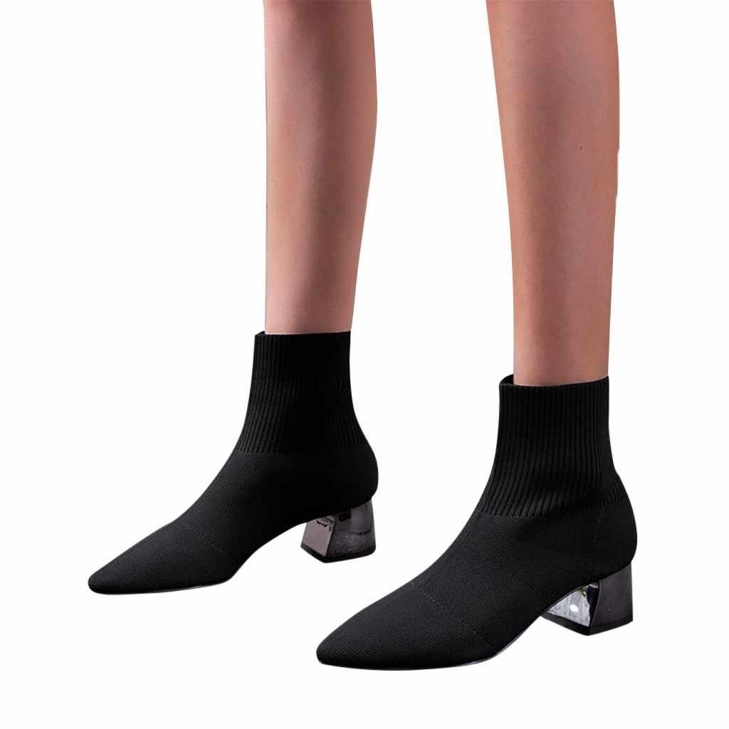 Botas de tobillo de lana de punto para mujer botas de calcetines de invierno de Punta puntiaguda para tejer Sexy botas de tacón Med botas mujer 2019 9m2