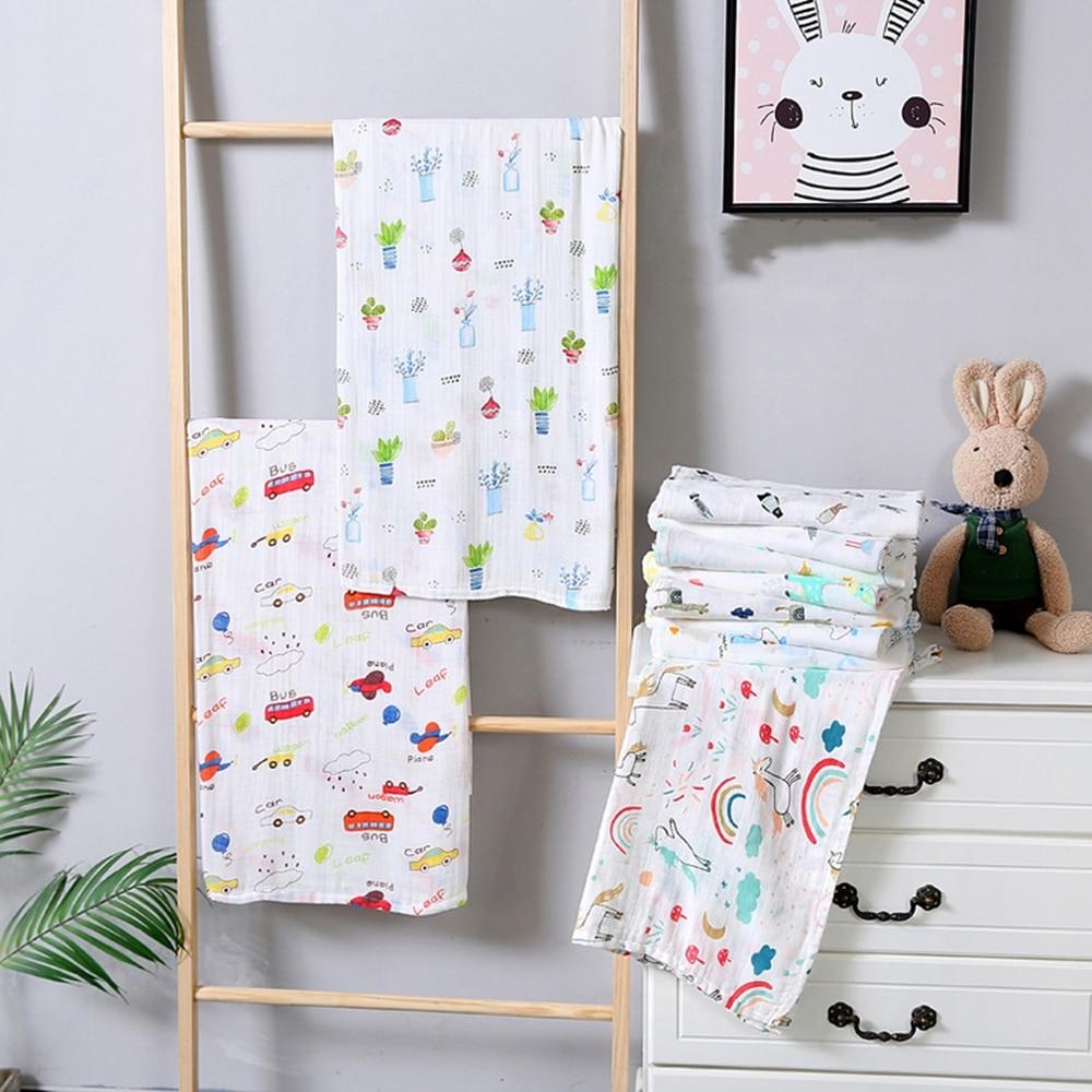 110*120cm Muslin Blanket 100% Cotton Baby Swaddles  Soft Newborn Blankets Bath Gauze Infant Kids Wrap Sleepsack Stroller Cover