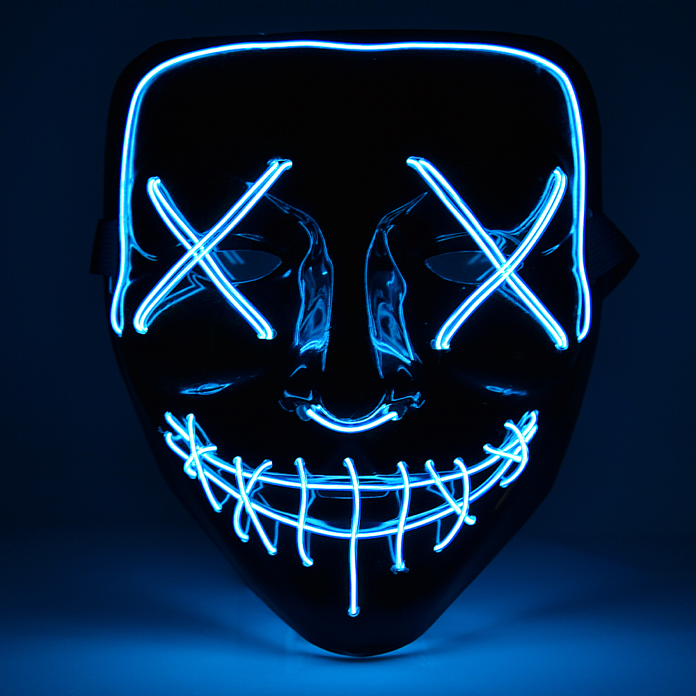 Halloween Party Mask 6 Colors LED Glowing in Dark Horror Scary Masquerade Skull Cosplay Flashing