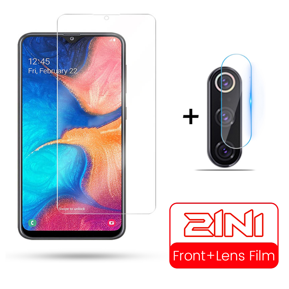 2 In 1 Screen Protector For Samsung Galaxy A20 A30 A40 A50 A10 A70 Protective Glass Camera Lens Protector A 10 20 30 40 50 70
