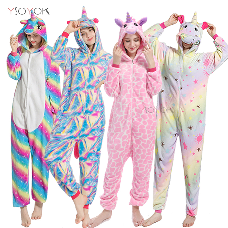 2019 Unicorn Pajamas Onesie Women Kigurumi Panda Winter Flannel Pajama Kigurumi Adult Nightie Stitch Unicornio Sleepwear Overall