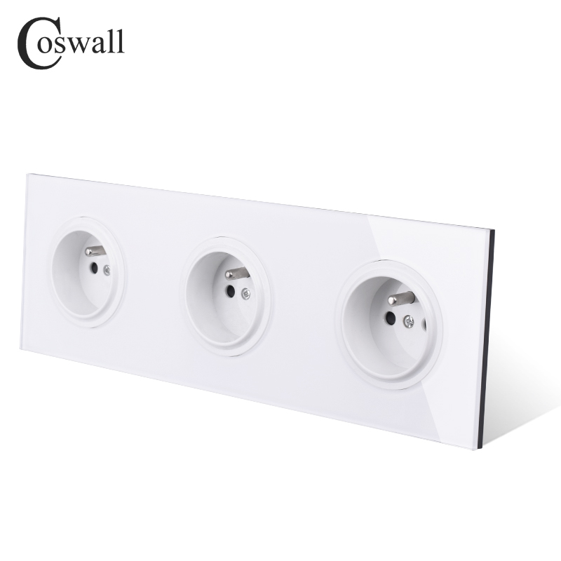 Image 3 - Coswall Crystal Tempered Pure Glass Panel 16A Triple French Standard Wall Power Socket Grounded With Child Protective LockElectrical Sockets   -
