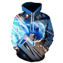 Sonic digital printed  long-sleeved hoodie is a hot seller on  3D boy/girl Clothes 2019 Parent-child thin style cartoon  coat yizi canvas printed backpacks in parent child style for adults hot sale fun kik