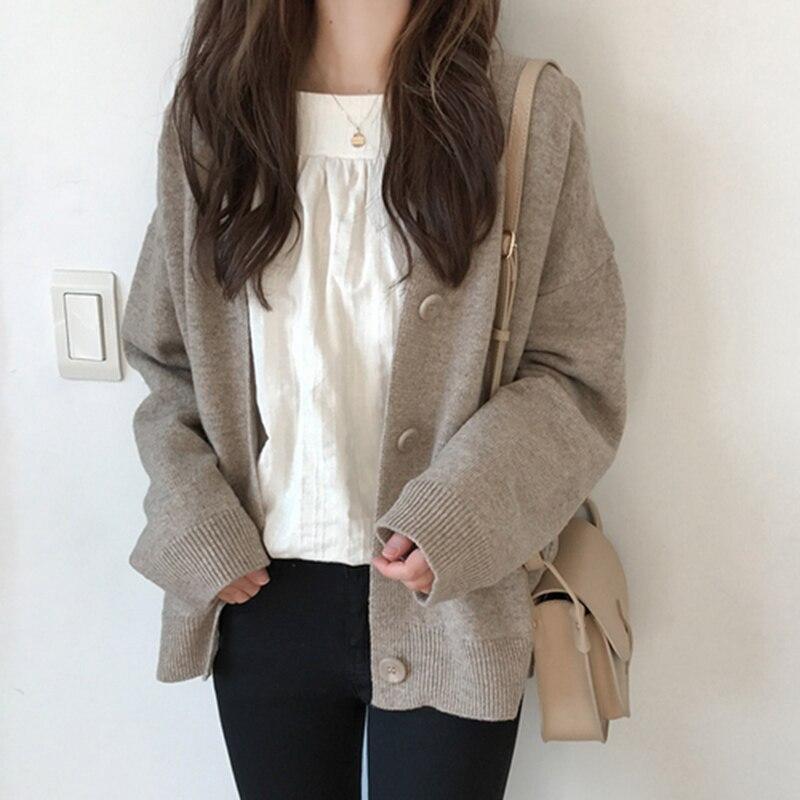 Женский винтажный кардиган с v-образным вырезом, свитер 2020, весенний мягкий Хлопковый вязаный Повседневный простой однотонный жакет в Корей...