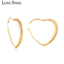 LUXUSTEEL Mujer Accessories Gold/Silver Heart Spring Shape Hoop Earrings Classic Stainless Steel Ear Rings Best Friend Gift(China)