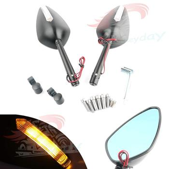 New One Pair Moto Rearview Side Mirrors Set CNC Aluminum LED For Suzuki GSR750 GW250F GSF600 GSF1250 SFV650 B-King ABS DL250