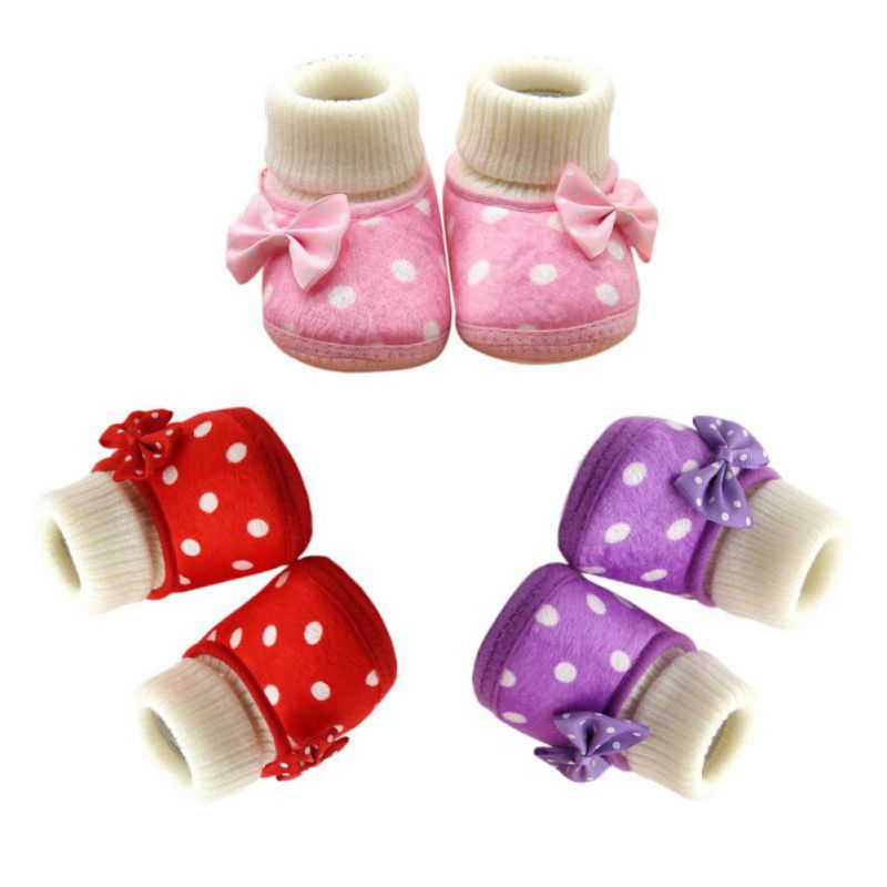 Baby Girl Boots Winter Newborn Warm Flat Shoes Elastic Slip On Soft Cotton Booties Soft Sole Plush Baby Snow Boots