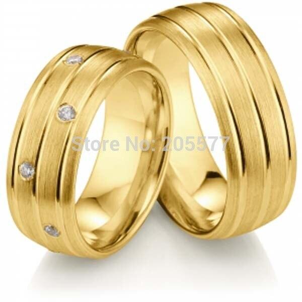 2014 nouveau modèle de conception plaqué or 8mm grand titane cz pierre fiançailles bandes de mariage couples anneaux ensembles hommes et femmes