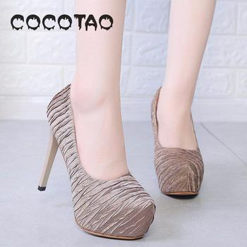 2019 New Arrival Coco & Tao Basic Super High (8cm-up) Thin Heels Pu Round Toe Party Slip-on Rubber Summer Sexy Fits True T